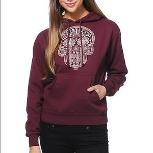 Obey Day Of The Dead Maroon Pullover Hoodie
